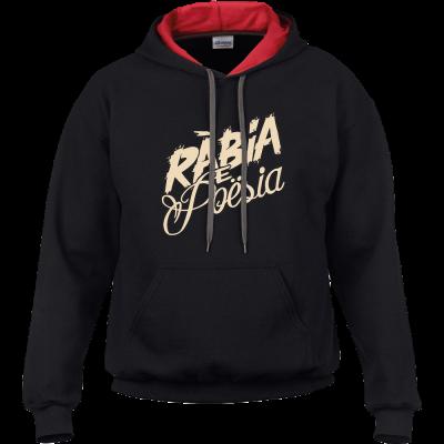 """Sweat noir à capuche rouge série """"Rábia e Poësia"""""""
